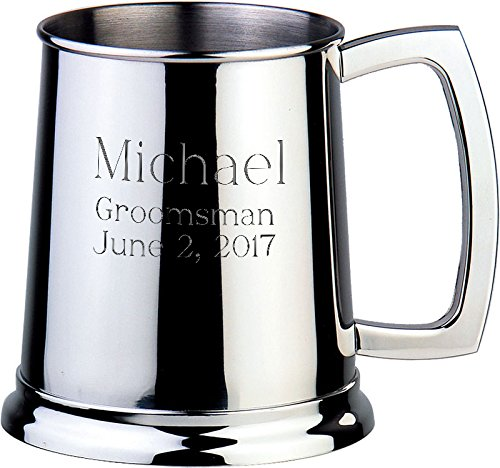 - Personalized Polished Stainless Steel 16 oz. Beer Mug with Free Engraving