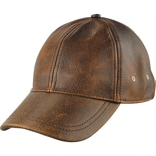 Wilsons Leather Mens Distressed Leather Baseball Cap (Solid Genuine Leather Baseball Cap)