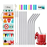 Teivio 8 Pack Short Stainless Steel Straws 6.25 inch and 6 inch Metal Reusable Straws with Silicone Tips and Case, Cleaning Brush and Carry Bag for Cocktail Glasses, Kids, Small Cups