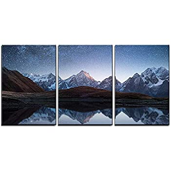 Giclee Print Gallery Wrap Modern Home Decor Ready to Hang Landscape of Snow Covered Mountains wall26 3 Panel Canvas Wall Art 16x24 x 3 Panels