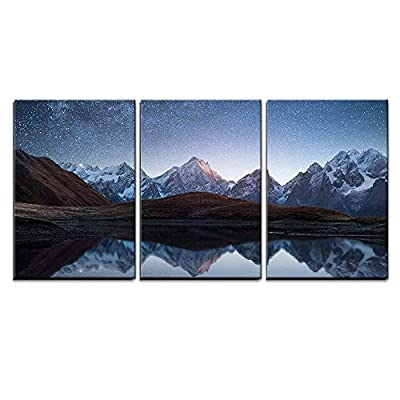 3 Piece Canvas Wall Art - Night Sky with Stars and The Milky Way Over a Mountain Lake - Modern Home Art Stretched and Framed Ready to Hang - 24