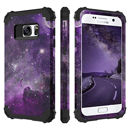 BENTOBEN Case for Samsung S7, 3 in 1 Hybrid Hard PC Soft Rubber Heavy Duty Rugged Bumper Shockproof Antislip Three Layers Full Body Protective Phone Cover for Galaxy S7, Space