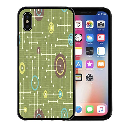 Emvency Phone Case for Apple iPhone Xs Case/iPhone X Case,Brown Circuit 1950S Retro Pattern of Lines and Circles Soft Rubber Border Decorative, Black