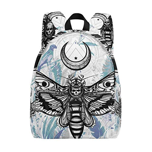 Death's Head Hawk Moth With Moons School Backpack, Casual College Daypack Shoulder Book Bags Back for Men Womens Boys - Girls For Hawk Backpack
