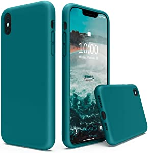 SURPHY Silicone Case Compatible with iPhone Xs Max Case 6.5 inches, Soft Liquid Silicone Shockproof Phone Case (with Microfiber Lining) Compatible with Xs Max (2018) 6.5 inches (Teal Blue)