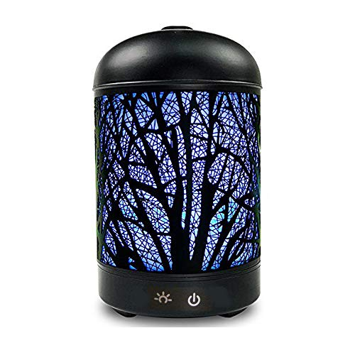 Actpe Iron Cover Aromatherapy Essential Oil Diffuser Ultrasonic Cool Mist Humidifier Forest Pattern 7 Color LED Nightlight Waterless Auto Shut-Off for Home Yoga Spa Office Baby Room Desk School