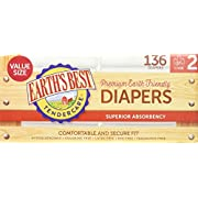 Earth's Best TenderCare Chlorine-Free Diapers, Fragrance Free, Size 2, Weight 12-18 lbs, 136 Count