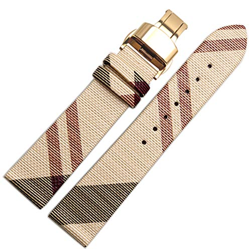 Choco&Man US Burberry Calfskin Leather Watch Band with Tool Replacement for Men's Burberry ()