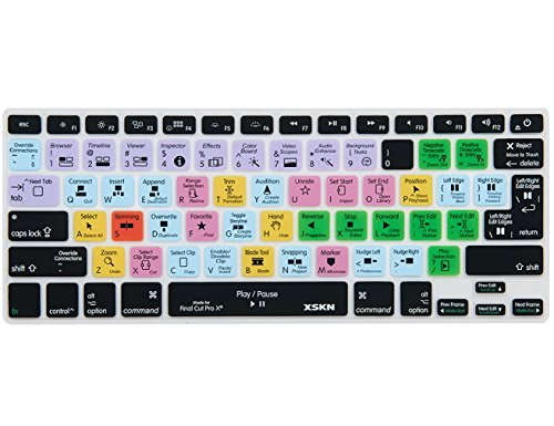 XSKN Apple Final Cut Pro X 10 Shortcut Design Silicone Keyboard Skin Cover for Macbook 13 15 17 inch (US & EU Layout)