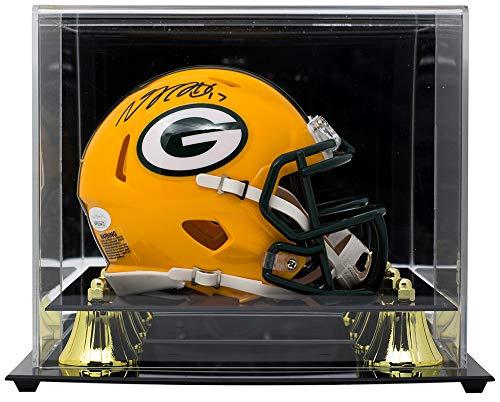(Davante Adams Signed Packers Riddell Mini Speed Helmet JSA w/Deluxe Acrylic Case)