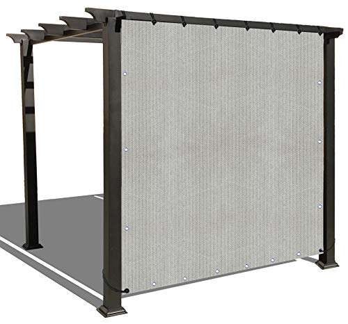 Alion Home Sun Shade Panel Privacy Screen with Grommets on 4 Sides for Outdoor, Patio, Awning, Window Cover, Pergola or Gazebo -200 GSM (8' x 6', Smoke Grey) (Patio Enclosures Cloth Shade Diy)