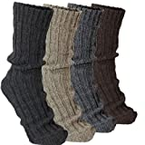 BRUBAKER 4 Pairs Thick Alpaca Winter Socks 100% Alpaca Color Mix EU 43-46 / US 9-11.5 (EU 43-46 / US 9-11.5, Multicoloured)