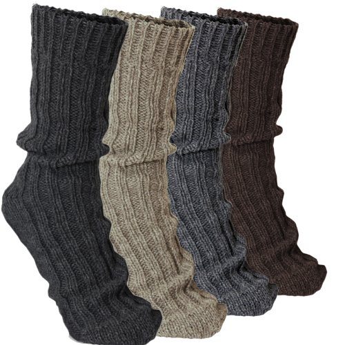 Alpaca Socks - BRUBAKER 4 Pairs Thick Alpaca Winter Socks 100% Alpaca Color Mix EU 43-46 / US 9-11.5 (EU 43-46 / US 9-11.5, Multicoloured)