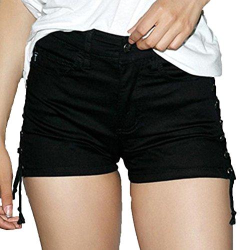 Vaqueros Fit De Negro Mezclilla Cintura Shorts Corto Alta Slim Mujeres aIYZBCCxqw