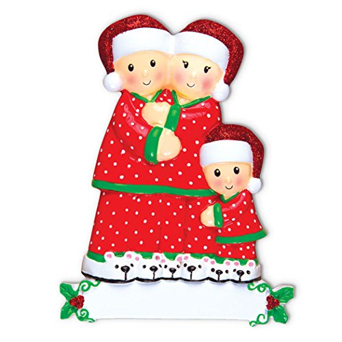 Personalized Pajama Family of 3 Christmas Tree Ornament 2019 - Mother Father Child Hug Santa Hat Polka Dot PJs Cozy Holiday Foster Appreciate Gift Friend Forever Year - Free Customization (Three)]()