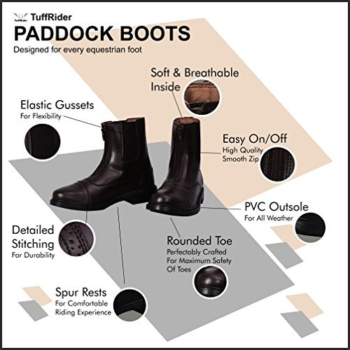 TuffRider Ladies Starter Front Zip Paddock Boots with Free Assorted Striped Socks   Womens Horse Riding Equestrian Boots