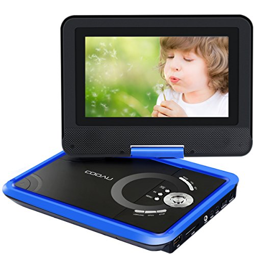 COOAU 9.8' Portable DVD Player with 7.5' Swivel Screen, 5 Hour Rechargeable Battery, Support USB/SD Card, Direct Play in Formats MP4/AVI/RMVB/MP3/JPEG, Blue