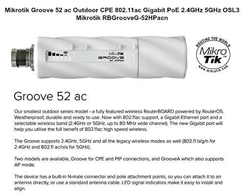 Mikrotik Groove 52 ac Outdoor CPE 802.11ac Gigabit PoE 2.4GHz 5GHz 5W OSL3 by Mikrotik