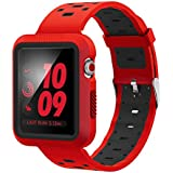EloBeth Compatible Apple Watch Band 42mm with Case, Shock-Resistant Protective Case Soft Silicone Sport Strap iWatch Band for Apple Watch Band Series 3/2/1 Nike+ Sport Edition(Red/Black, 42mm)