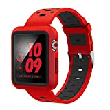 EloBeth for Apple Watch Band 42mm with Case, Shock-Resistant Protective Case Soft Silicone Sport Strap iWatch Band for Apple Watch Band Series 3/2/1 Nike+ Sport Edition(Red/Black, 42mm)
