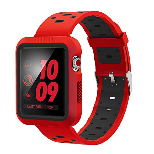 EloBeth for Apple Watch Band 42mm with Case, Soft Silicone Sport Strap iWatch Band with Shock Resistant Protective Case for Apple Watch Band Series 3/2/1 Nike+ Sport Edition(42mm Red/Black)
