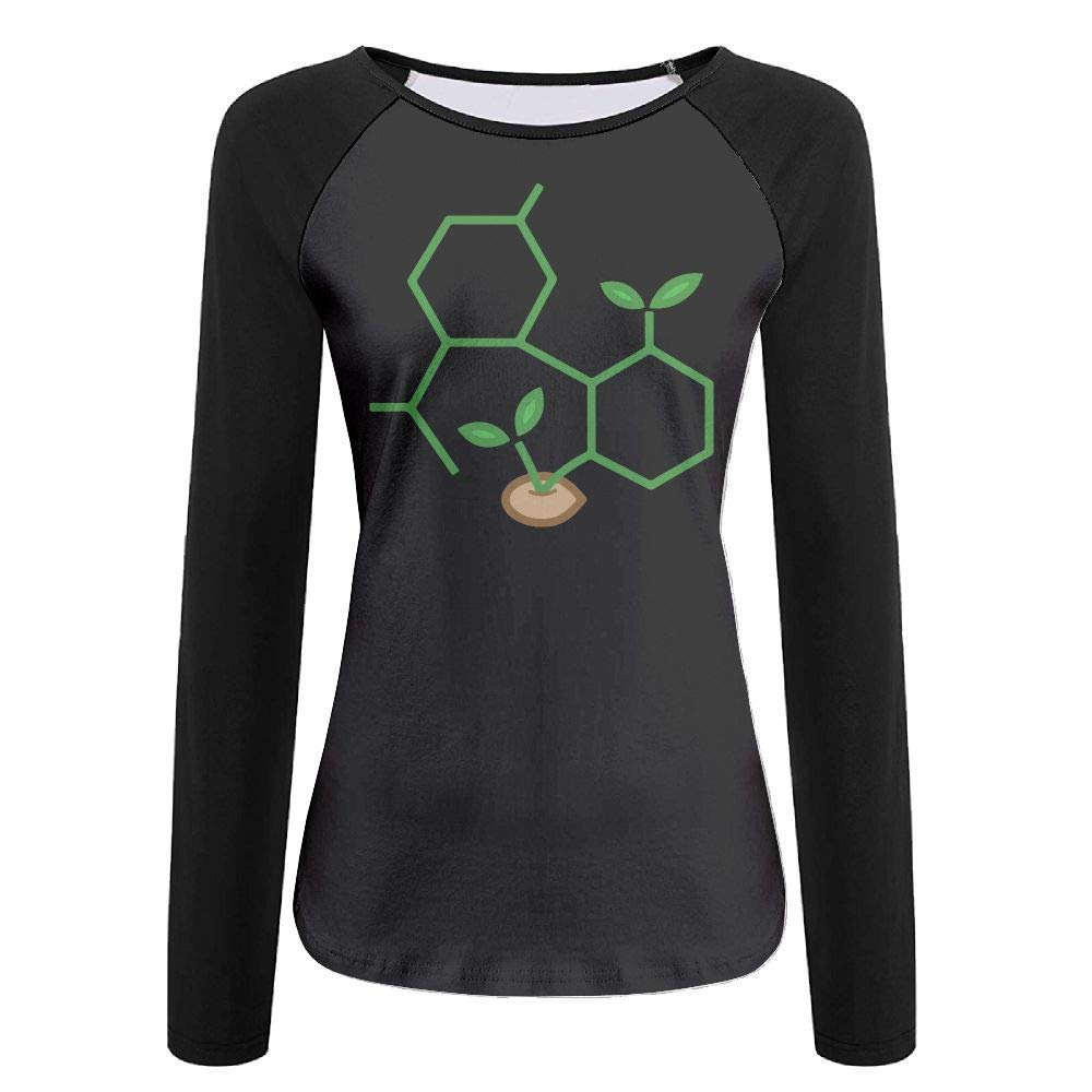 KEQ&33 CBD Molecule Cannabis Sprout Women's Casual Crew Neck Long Sleeve Shirts Raglan Top