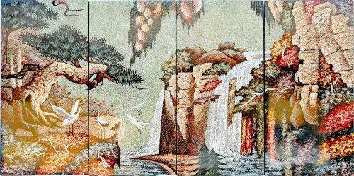 """Vietnamese Lacquer Paintings - 24"""" x 48"""" Heaven Water Fall - LP0050"""