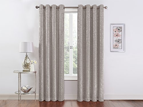 Regal Home Collections Sadie 54-Inch X 84-Inch Metallic Blackout Grommet Panel, Gray