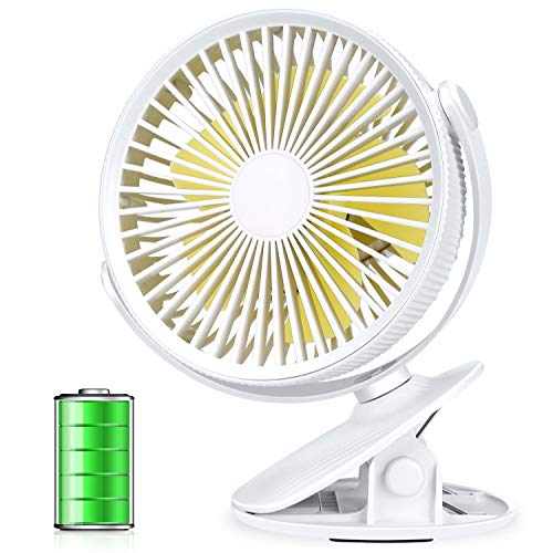 Aluan Clip On Fan Stroller Fan Rechargeable Battery Operated Portable Desk Fan Powerful 3 Speeds 360 Degree Rotatable Personal Fan for Baby Stroller Treadmill Golf Cart Home Office Table, White