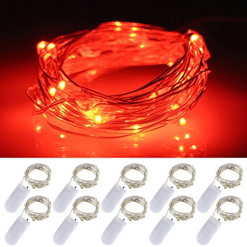 LXS Battery Operated Fairy Lights 10 Sets of 2M /20 LED,Amazingly Bright - Ultra-Thin Flexible Easy to Wrap Silver Wire for Halloween Christmas Wedding Party,Fairy Light Effect(10PCS-Red)