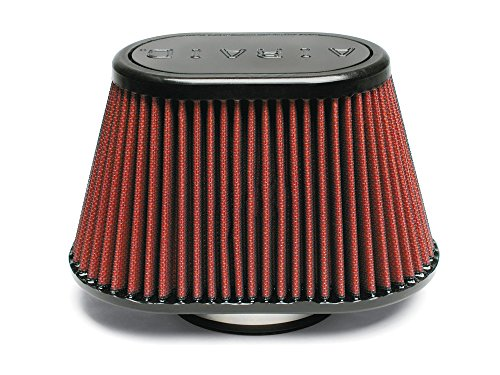 Airaid 721-440 Universal Clamp-On Air Filter: Oval Tapered; 3.5 in (89 mm) Flange ID; 5.25 in (133 mm) Height; 8.5 in x 5.25 in (216 mm x 133 mm) Base; 6 in x 3.75 in (152 mm x95 mm) Top