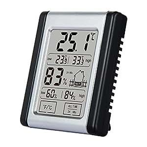 Top de Max Digital Interior Exterior Temperatura y Humedad metros con despertador, LCD Higrómetro Termómetro Monitor para casa, oficina