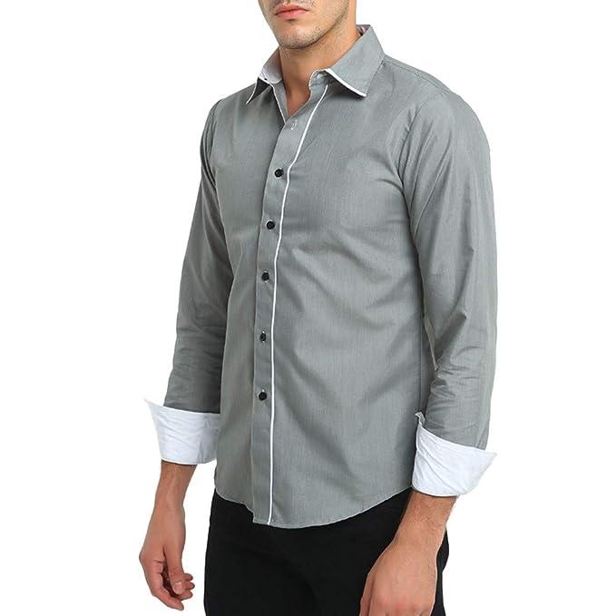 YanHoo Camisa de Vestir de Manga Larga de Manga Larga de Corte Slim Informal Formal de
