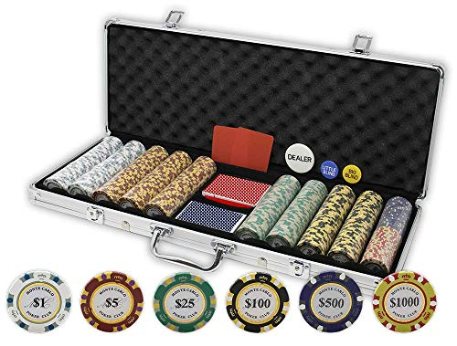 DA VINCI Monte Carlo Poker Club Set of 500 14 Gram 3 Tone Chips with Aluminum Case, Cards, 2 Cut Cards, Dealer and Blind Buttons (Aluminum Poker Chip Case Holds)