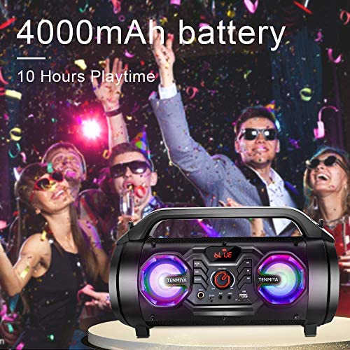 Portable Bluetooth Speakers, 30W Loud Outdoor Speakers with Subwoofer, FM Radio, RGB Colorful Lights, EQ, Stereo Sound, 10H Playtime Boombox Wireless Speaker for Home, Party, Camping, Travel 51Rj0y5pANL