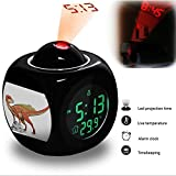 Projection Alarm Clock Wake Up Bedroom with Data and Temperature Display Talking Function, LED Wall / Ceiling Projection, Dinosaur-124.223_Abrictosaurus dinosaur