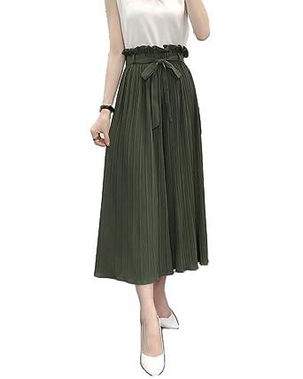 070e7fe908ed ZongSen Femme Grande Taille Pantalon Jambe Large Casual Pantalons Taille  Haute Plissé Pantalon évasé avec Ceinture