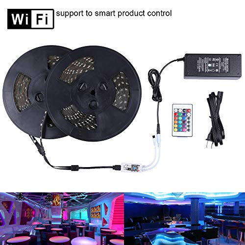 Miheal WiFi Wireless Smart Phone Controlled Led Strip Light Kit with DC12V UL Listed Power Supply Waterproof SMD 5050 65.6Ft(20M) 600leds RGB Music LED Light Strip Compatible with Android, iOS Alexa ()