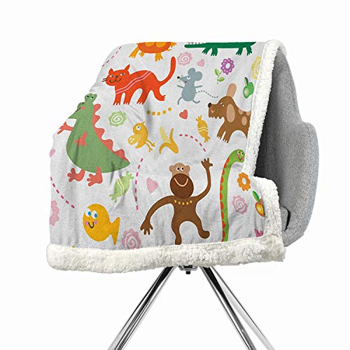 (BenmoHouse Boys Berber Fleece Digital Printing Blanket 60 by 47 Inch Fuzzy Multicolor Jolly Cartoon Animals Colorful Flowers and Hearts for Cheerful Babies and)