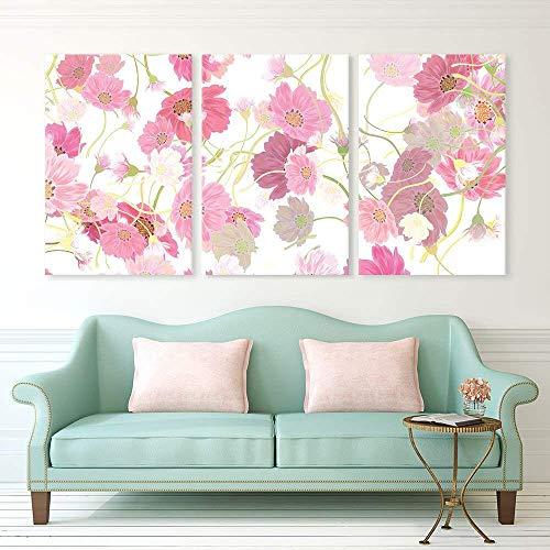 3 Panel Pink Floral Pattern x 3 Panels