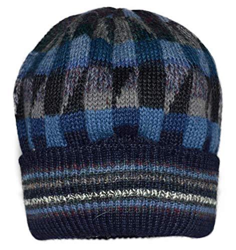Invisible World Women's 100% Alpaca Wool Hat Knit Unisex Beanie Winter Mosaic Md