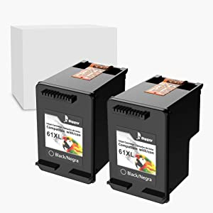 Bigger Remanufactured Ink Cartridge Replacement for HP 61XL Ink Cartridges, 2 Black