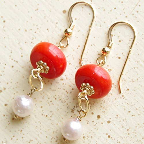 Red Coral Earrings Japanese Akoya Saltwater Pearl 14kt Gold Filled 35th Anniversary
