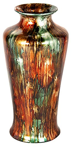 Heather Ann Creations Leah Ceramic Decorative Tapered Floor Vase, Green/Copper/Silver