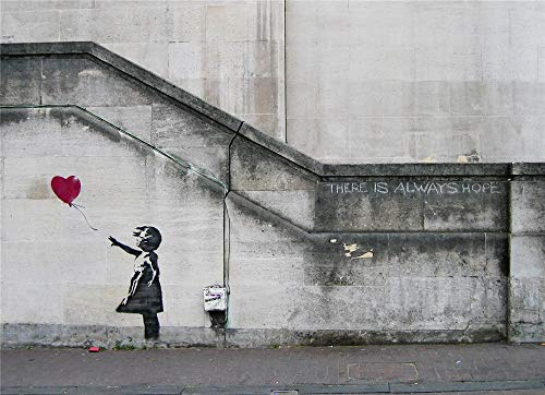artwu Banksy, There is Always Hope,Wall Art Home Wall Decorations for Bedroom Living Room Oil Paintings Canvas Prints -1315 (Unframed,12x18inch)