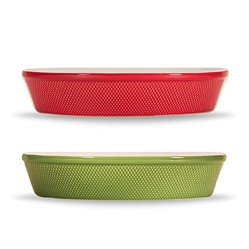 BIA Cordon Bleu Porcelain Oval Baking Dish, 15-Inch (Holiday Value Pack (Red and Green)) ()