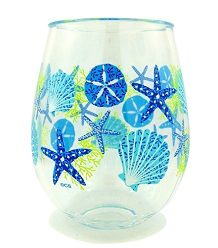 Summer Sea Shells Beach Plastic Wine Glass Tumbler, 16 oz, ()