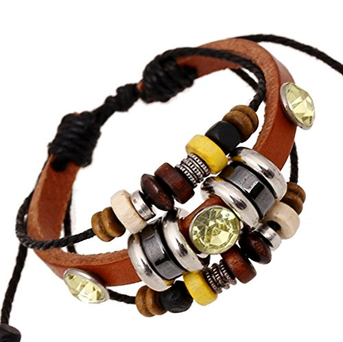 The Wrap Of Wood Beaded Brown Adjustable Leather Metal Bling Shine Bead Bracelet Yellow