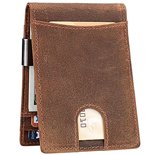 Lavemi Money Clip Wallet for Men Slim Front Pocket RFID Blocking Card Holder Minimalist Bifold Wallet(Texas Brown)