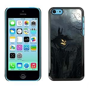 iPhone 5C - Metal de aluminio y de plástico duro Caja del teléfono - Negro - Halloween Scarcy Creepy Pumpkin Scarecrow